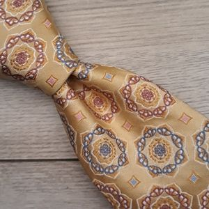 ROBERT TALBOTT BOC Recent Gold Metallic Silk Tie